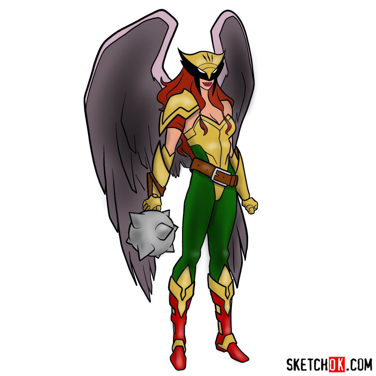 How to draw Hawkgirl DC superheroine