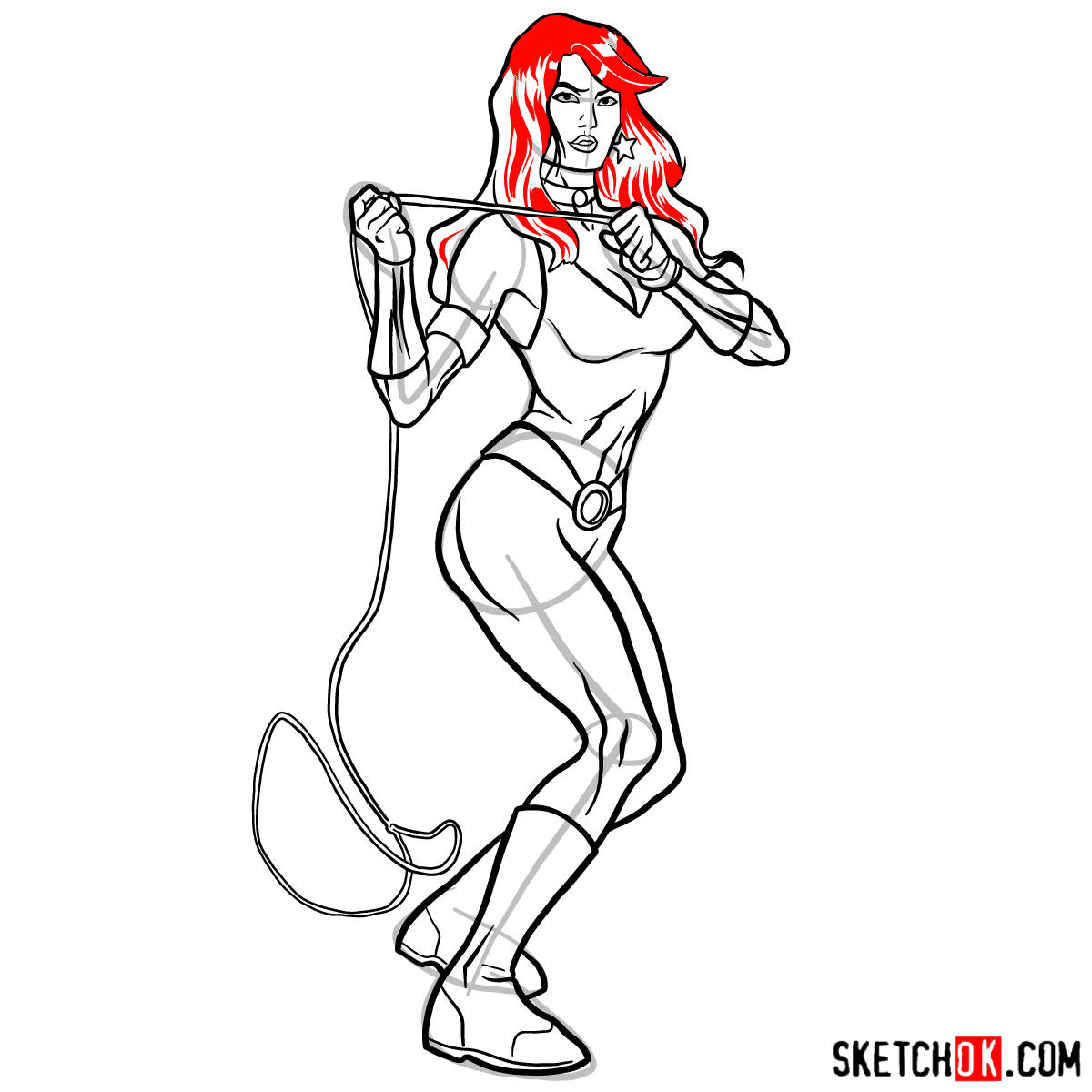 How to draw Donna Troy the Wonder Girl - step 14