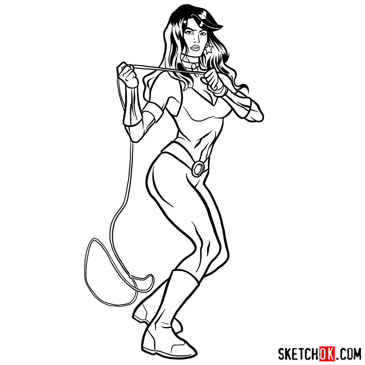 How to draw Donna Troy the Wonder Girl - step 15
