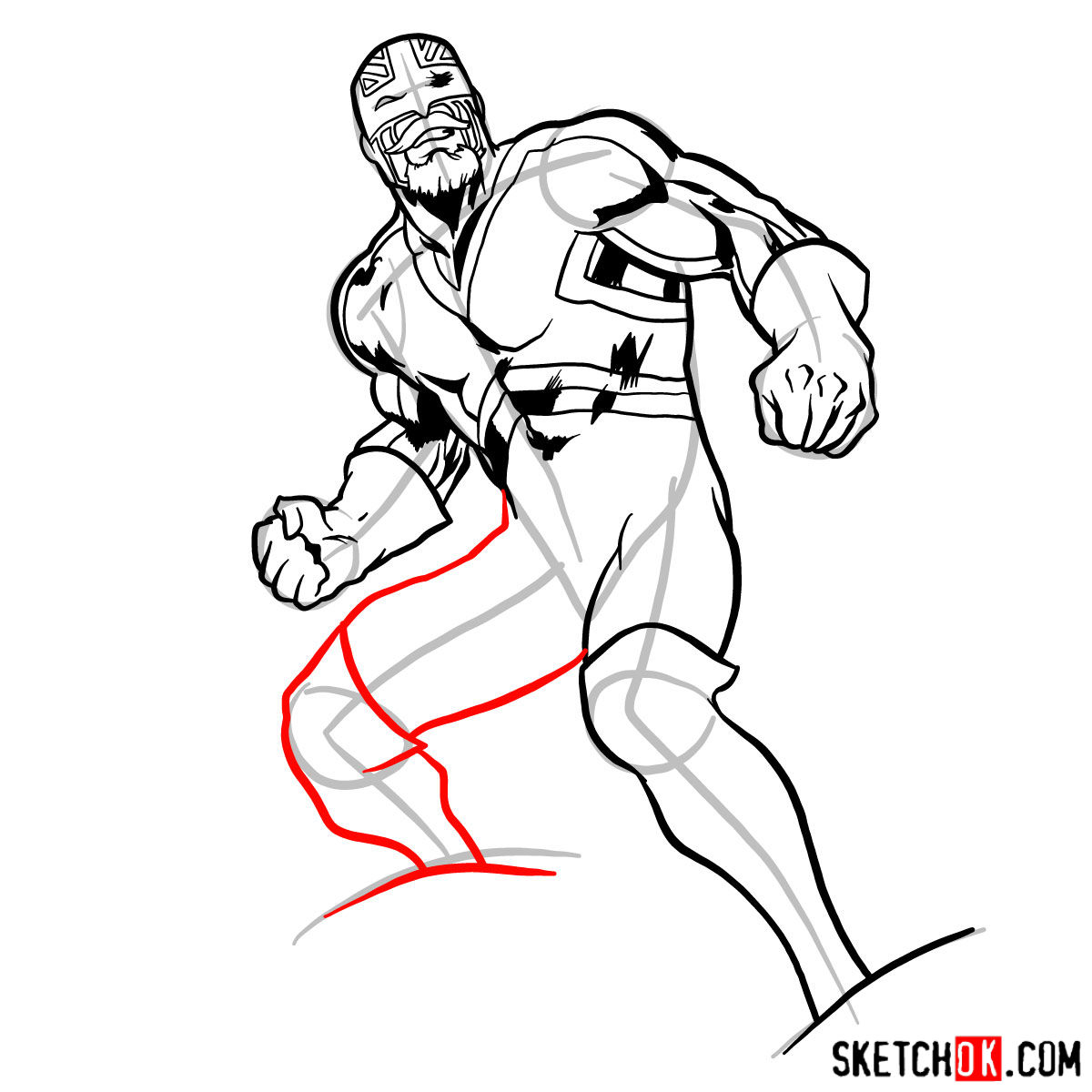 How to draw Captain Britain from Marvel Comics - step 12