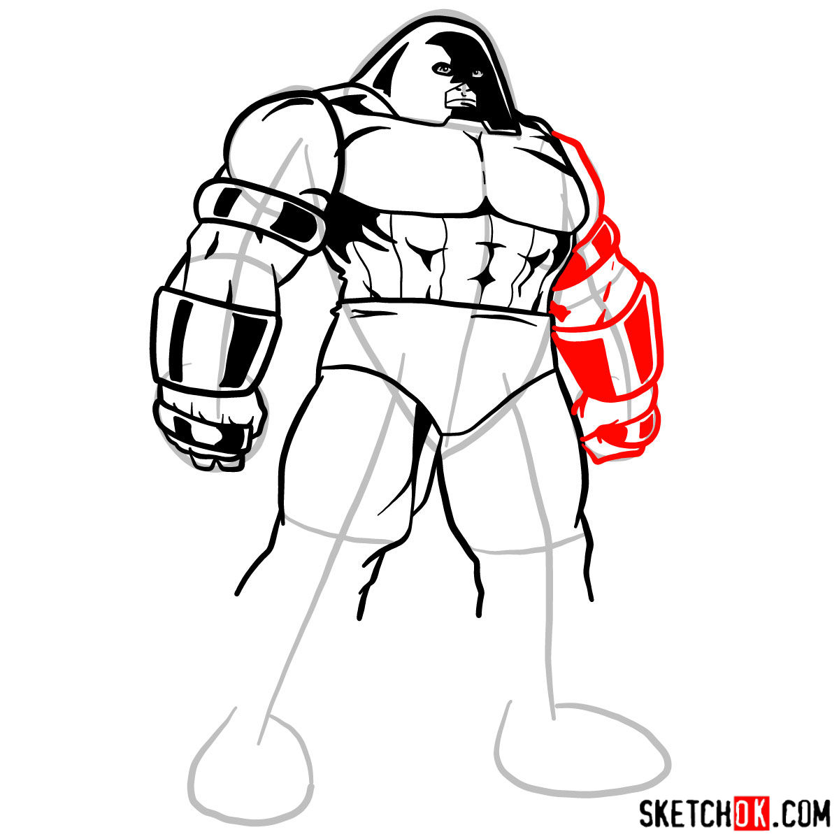 How to draw Juggernaut from X-Men - step 09