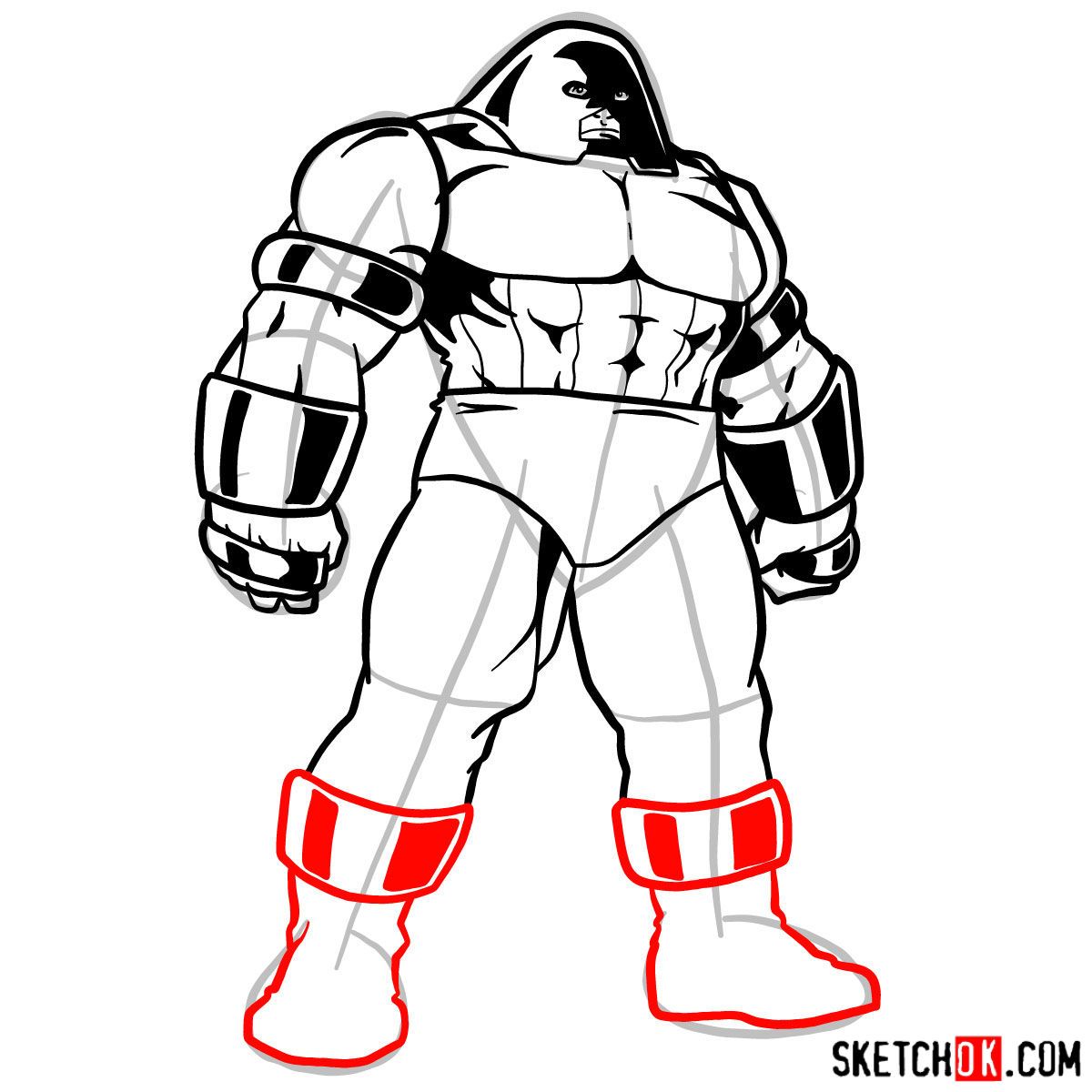 How to draw Juggernaut from X-Men - step 10
