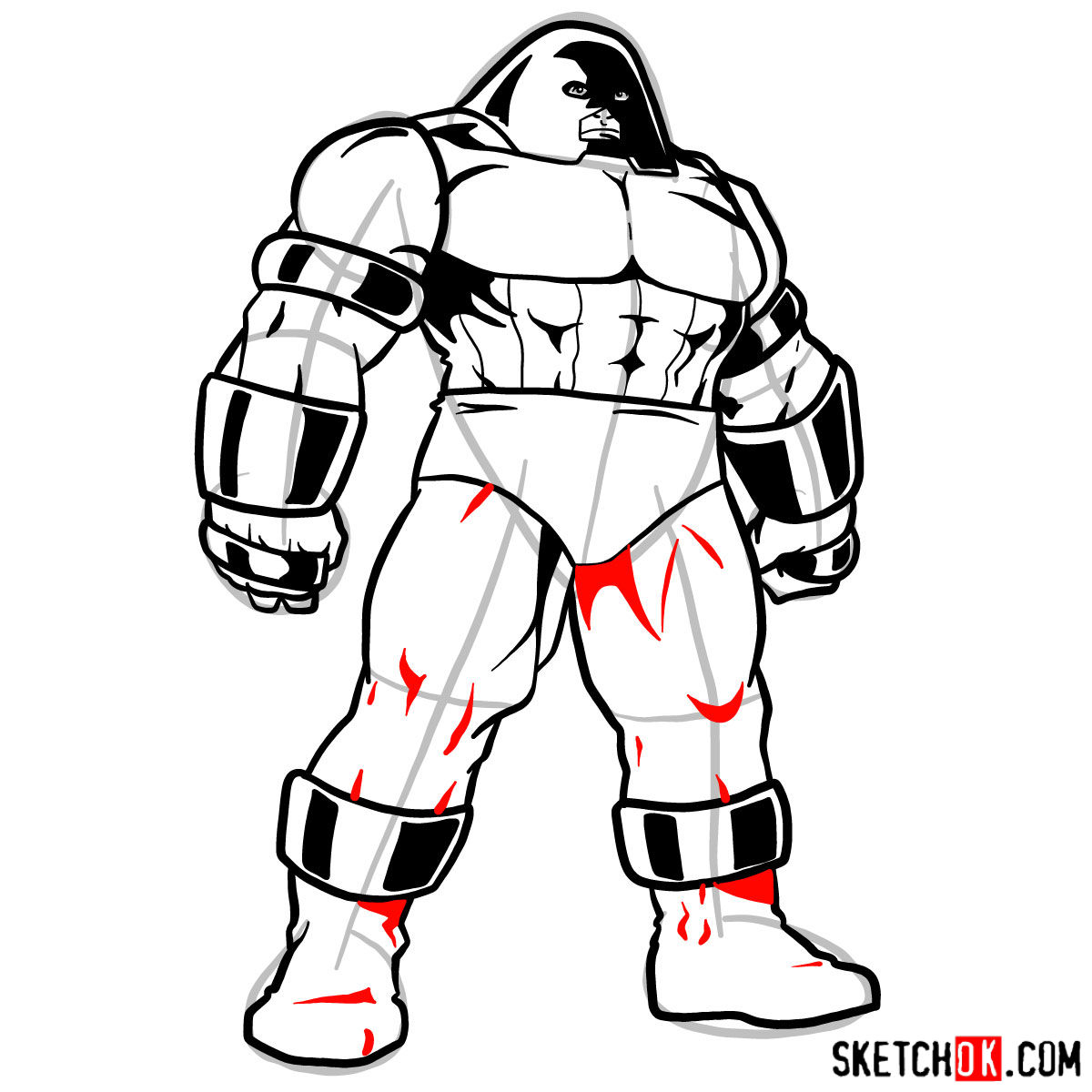 How to draw Juggernaut from X-Men - step 11