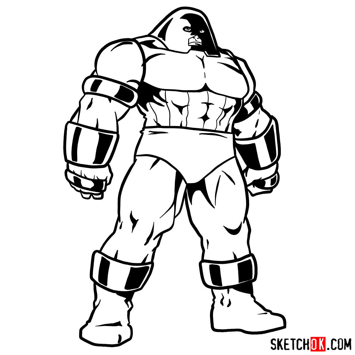 How to draw Juggernaut from X-Men - step 12