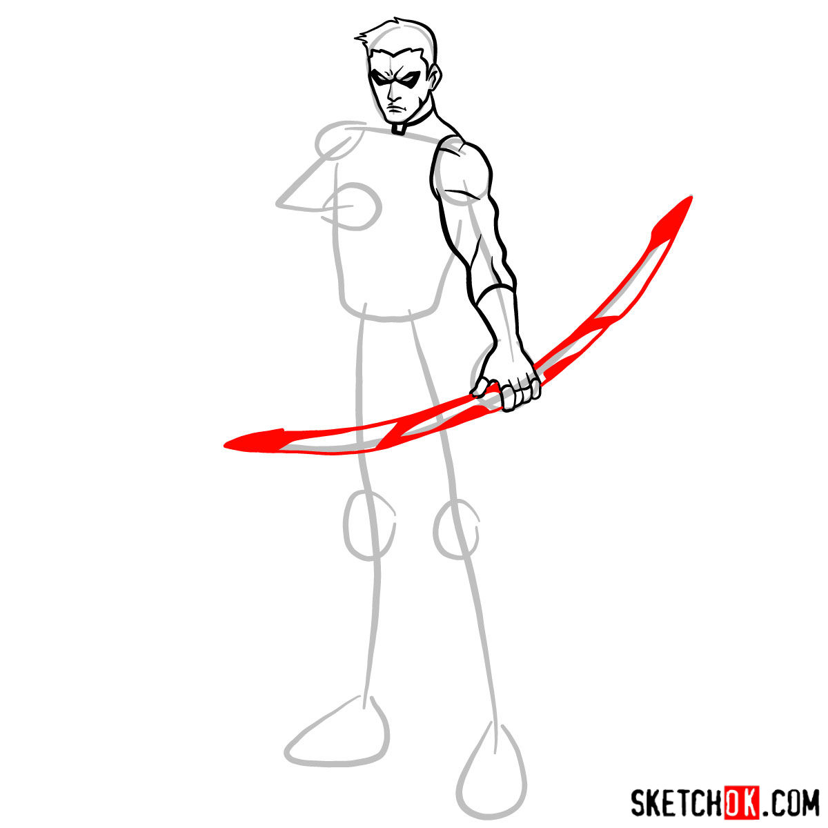 How to draw Roy Harper the Red Arrow (Speedy) - step 07