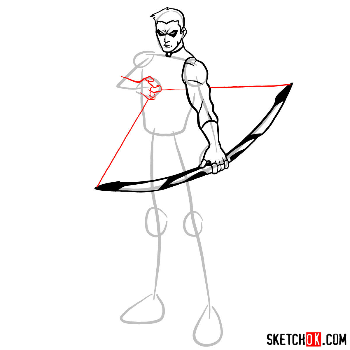 How to draw Roy Harper the Red Arrow (Speedy) - step 08