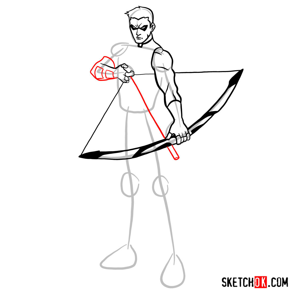 How to draw Roy Harper the Red Arrow (Speedy) - step 09