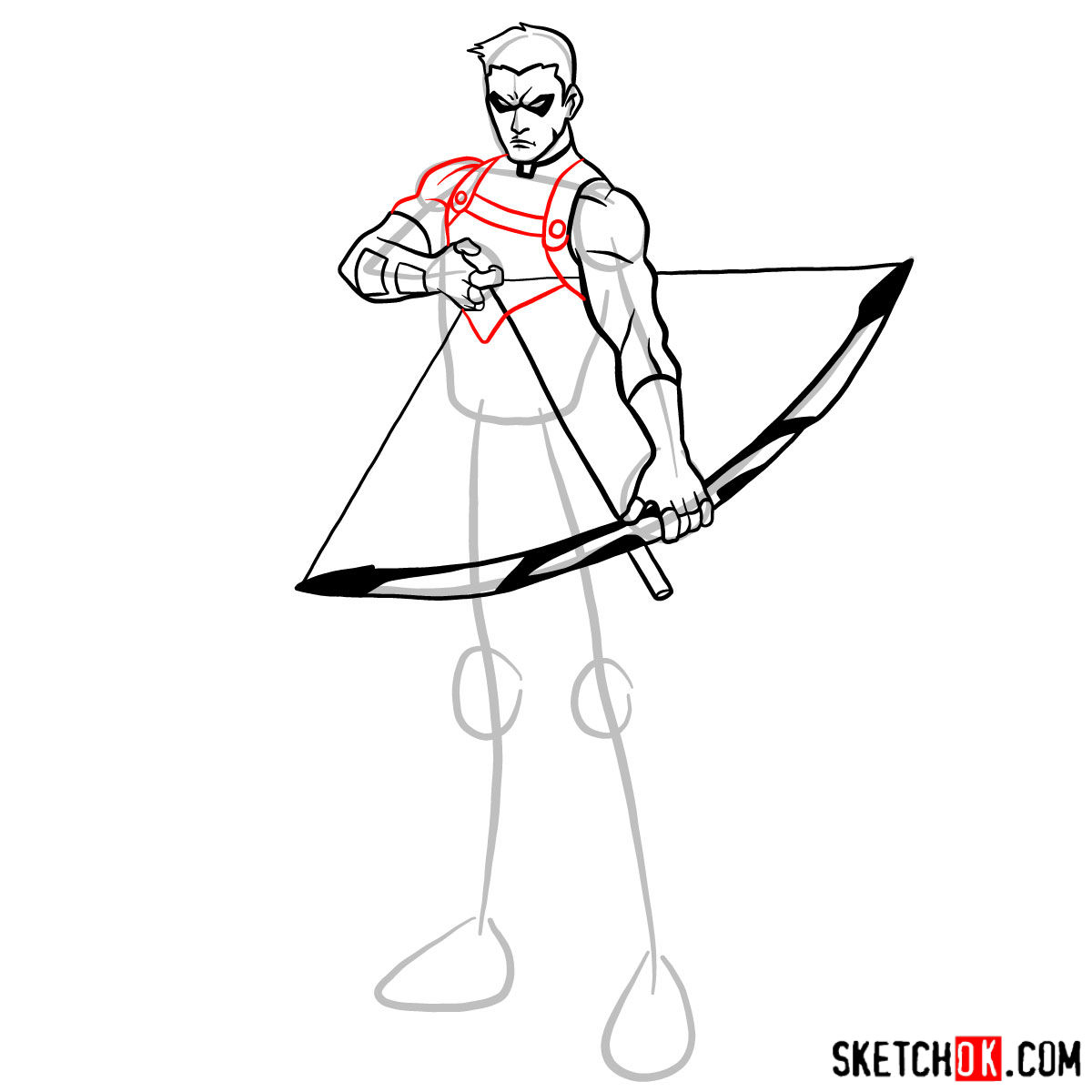 How to draw Roy Harper the Red Arrow (Speedy) - step 10