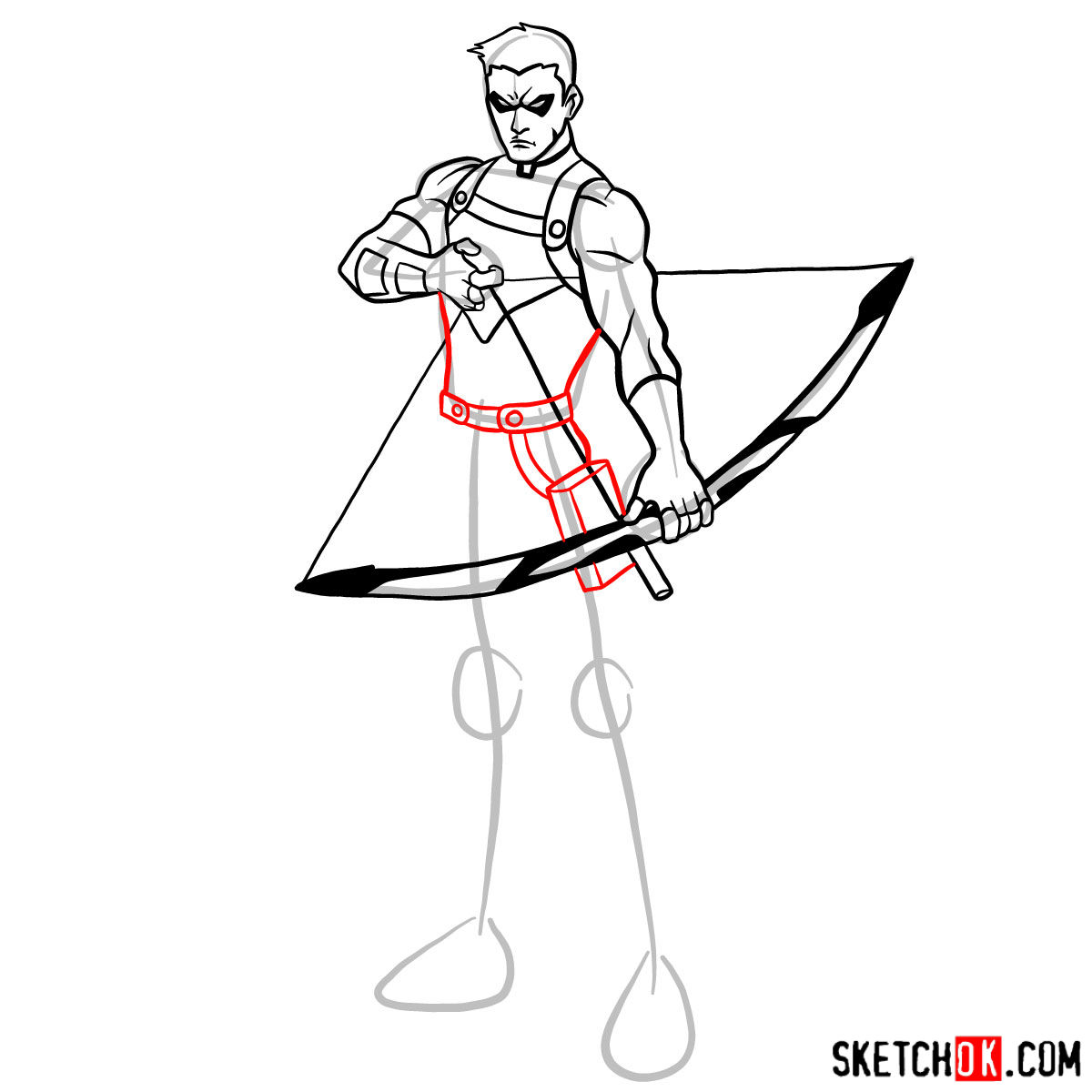 How to draw Roy Harper the Red Arrow (Speedy) - step 11