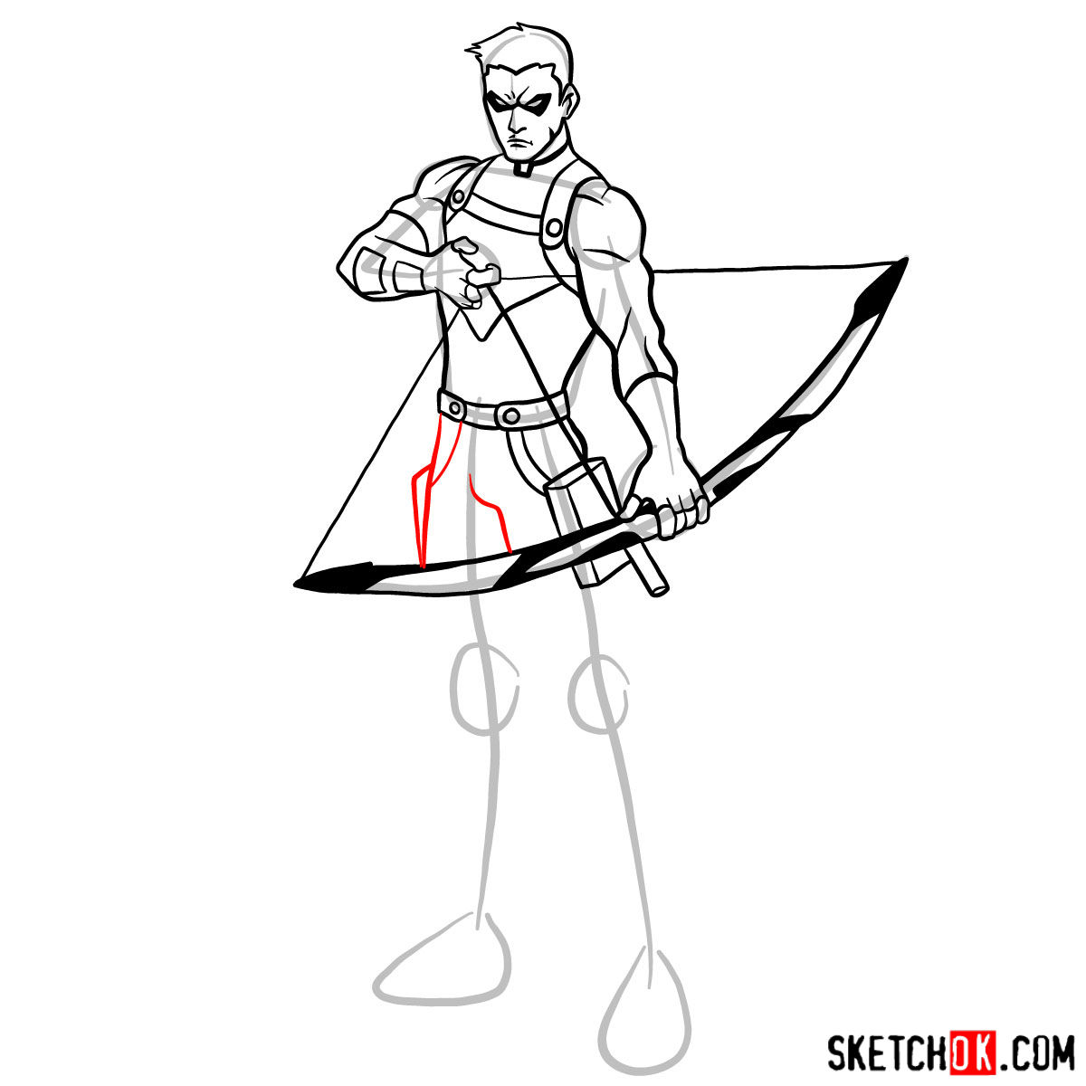 How to draw Roy Harper the Red Arrow (Speedy) - step 12