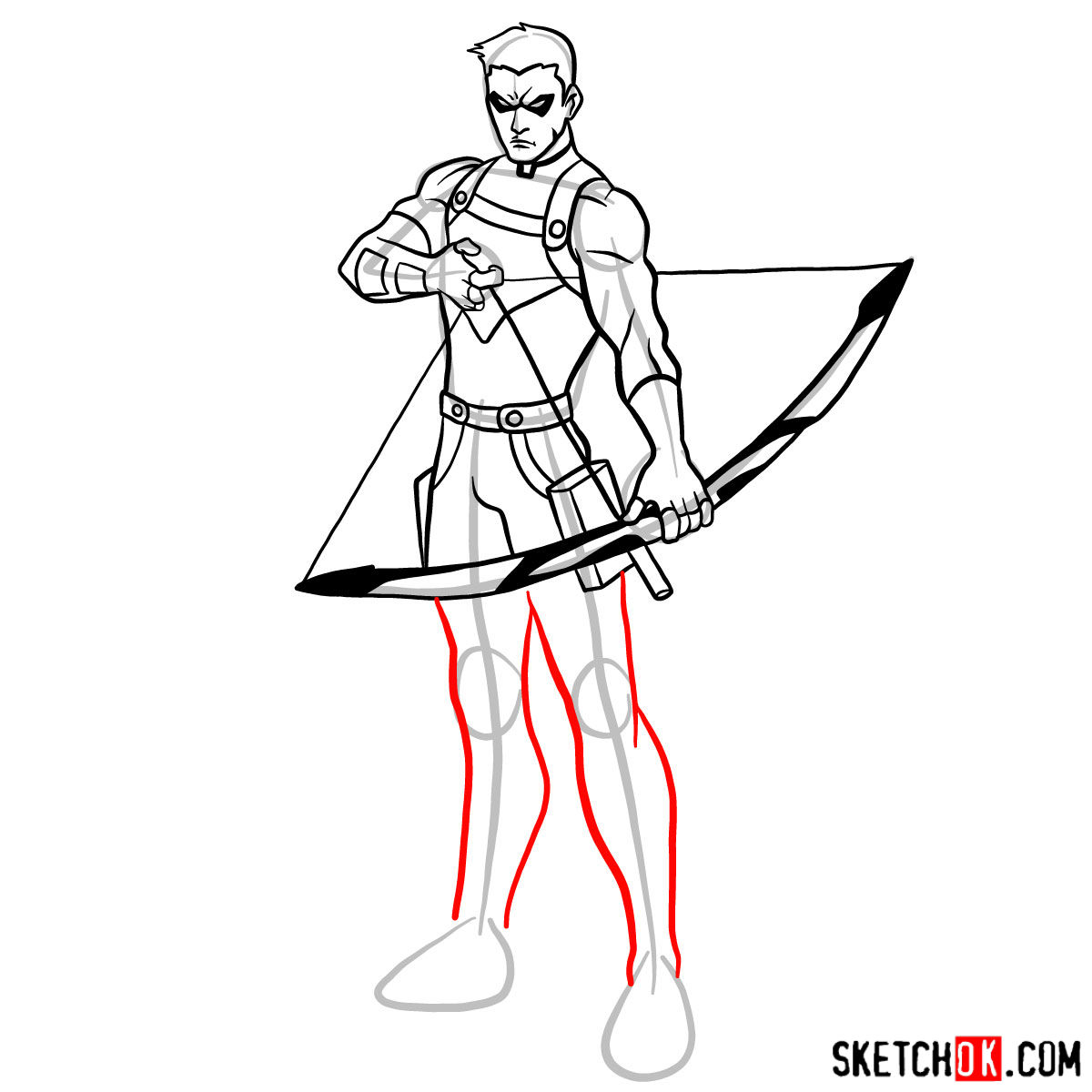 How to draw Roy Harper the Red Arrow (Speedy) - step 13
