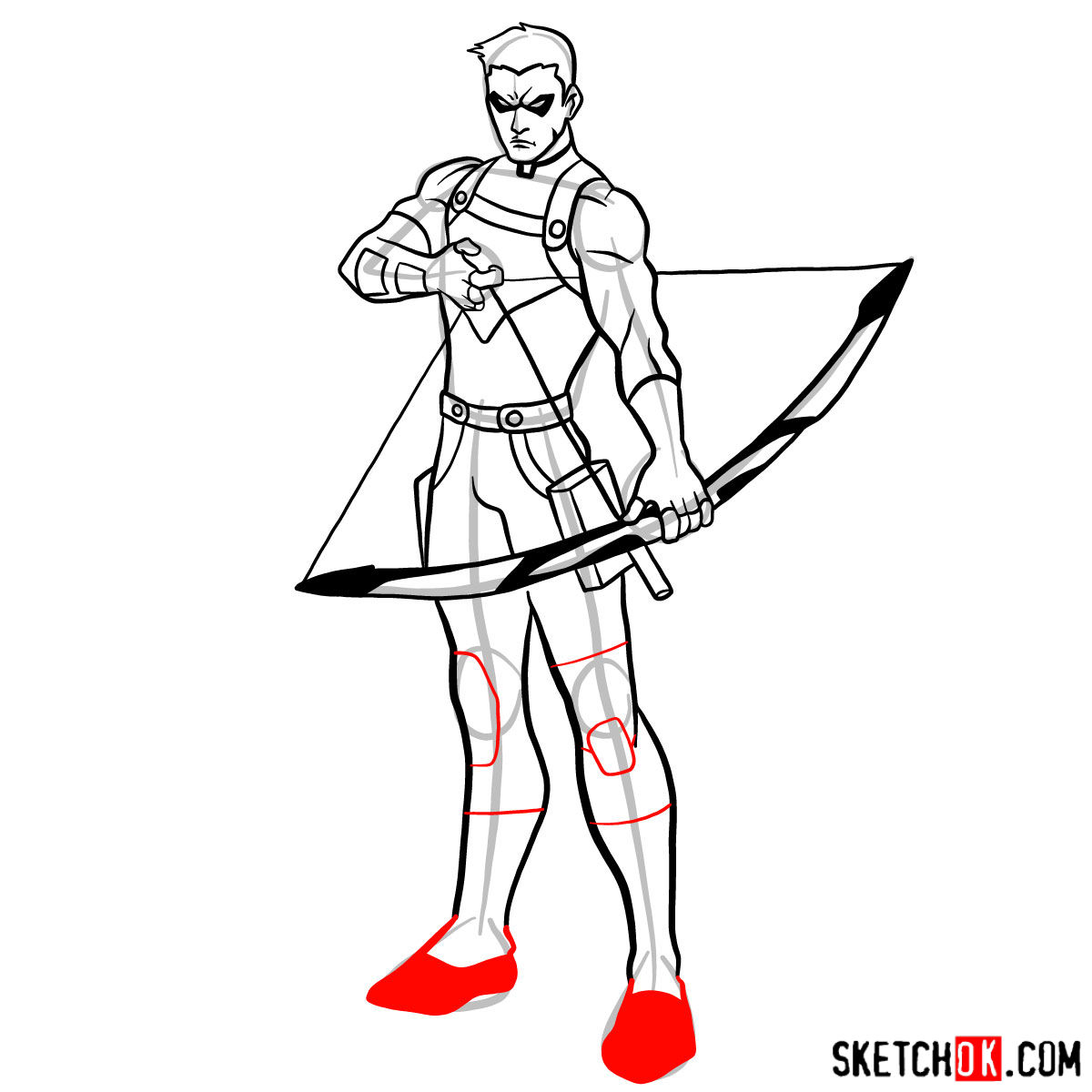 How to draw Roy Harper the Red Arrow (Speedy) - step 14