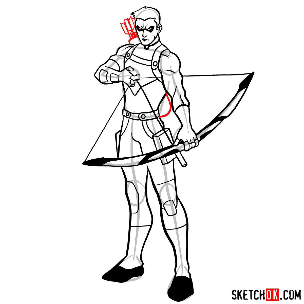 How to draw Roy Harper the Red Arrow (Speedy) - step 15