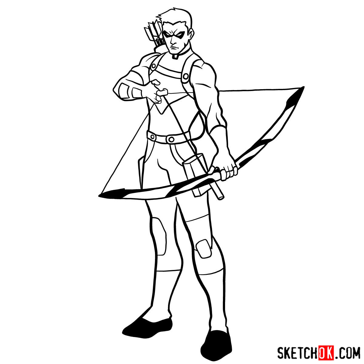 How to draw Roy Harper the Red Arrow (Speedy) - step 16