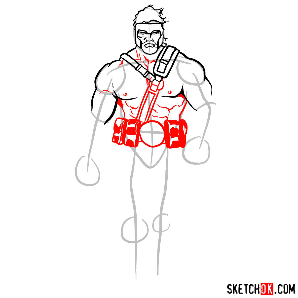 How to draw Hercules - Marvel Comics hero - step 07