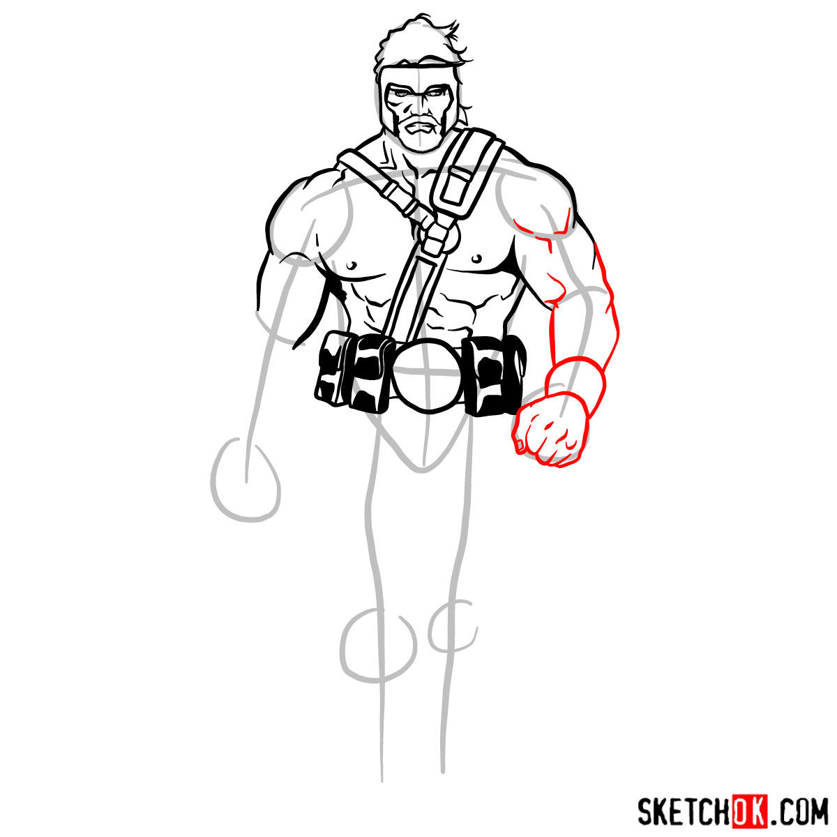 How to draw Hercules - Marvel Comics hero - step 08