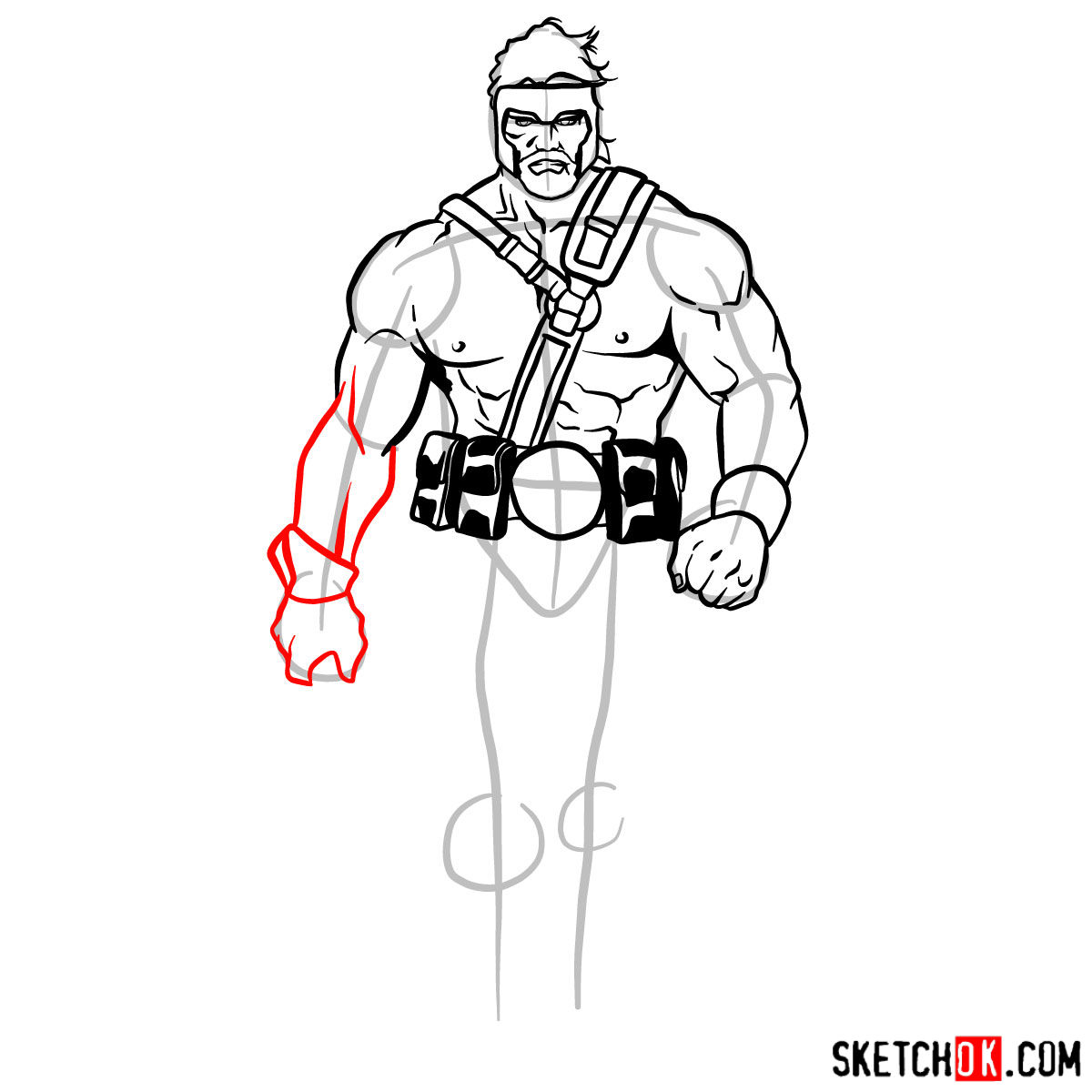 How to draw Hercules - Marvel Comics hero - step 09