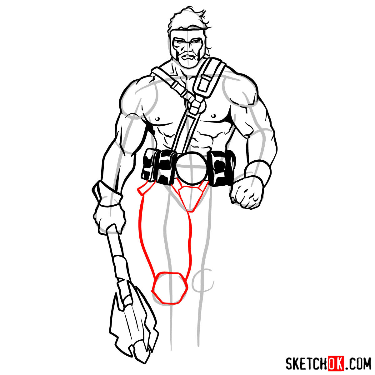 How to draw Hercules - Marvel Comics hero - step 11
