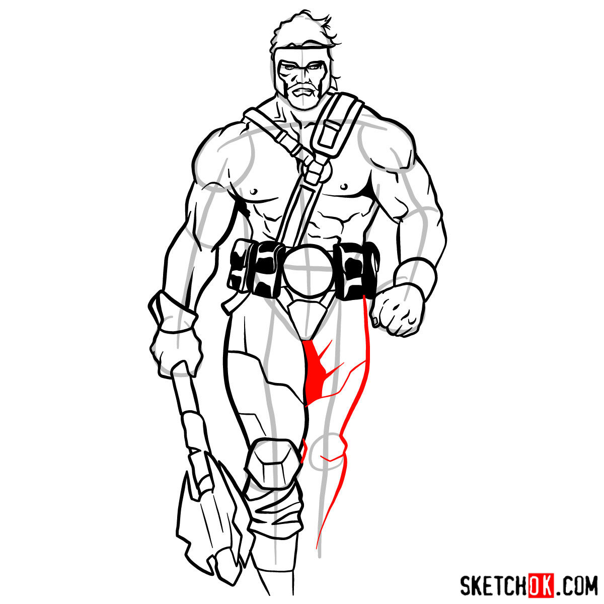 How to draw Hercules - Marvel Comics hero - step 13