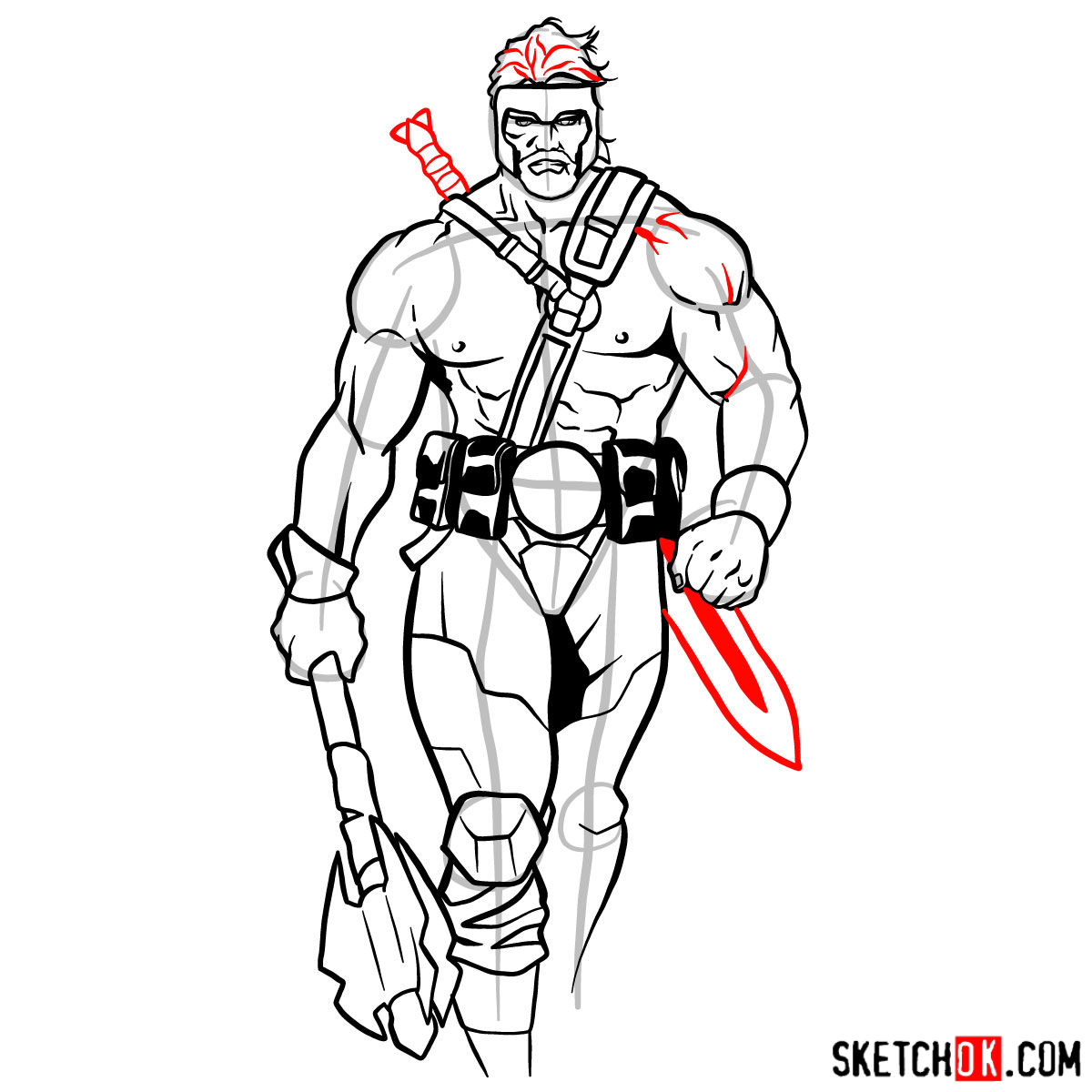 How to draw Hercules - Marvel Comics hero - step 14