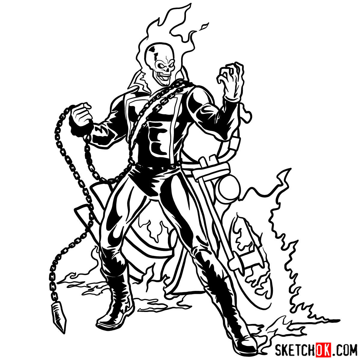 How To Draw Ghost Rider With His Flaming Bike Step By Step Drawing