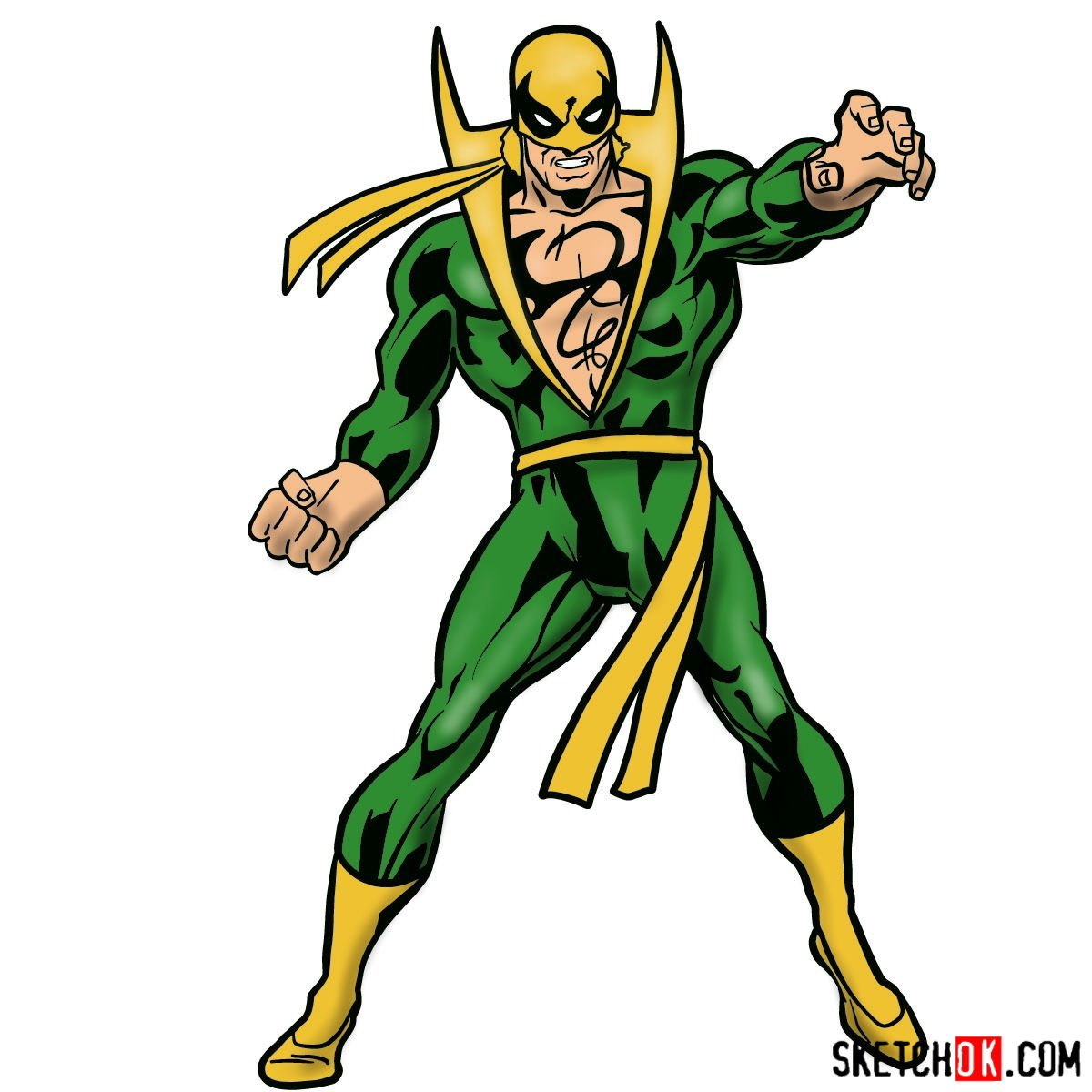 How to draw Iron Fist – Marvel's superhero