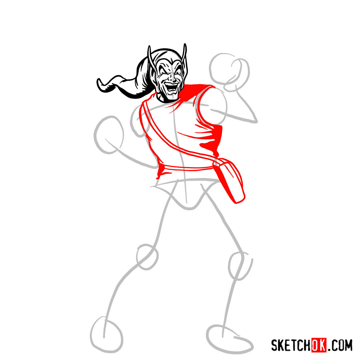 How to draw Norman Osborn the Green Goblin - step 05