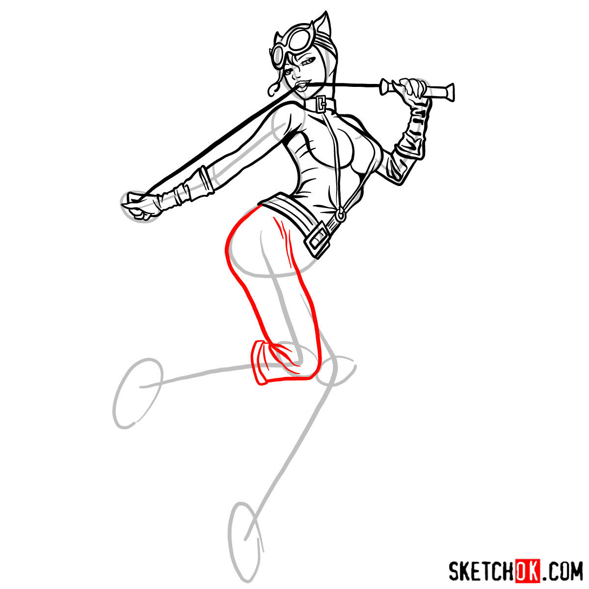 How to draw Catwoman superheroine from DC Comics - step 13
