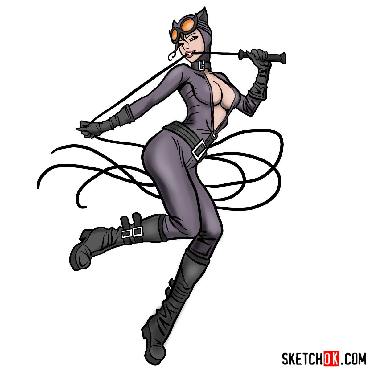 How to draw Catwoman superheroine from DC Comics - coloring