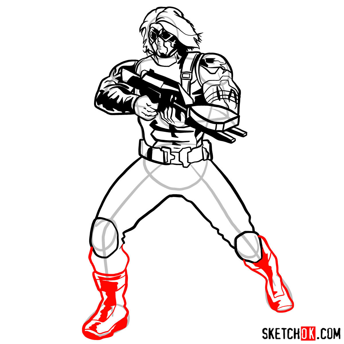 How to draw Bucky Barnes the Winter Soldier - step 14