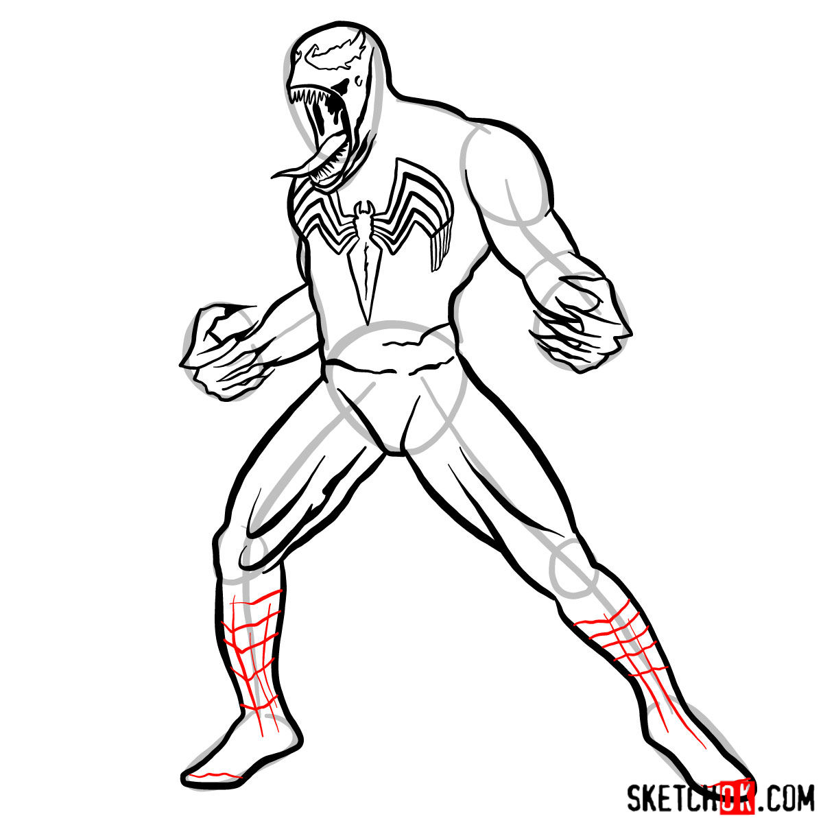 How to draw Venom symbiote step by step - step 11