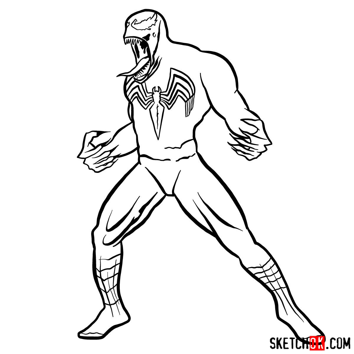 How to draw Venom symbiote step by step - step 12
