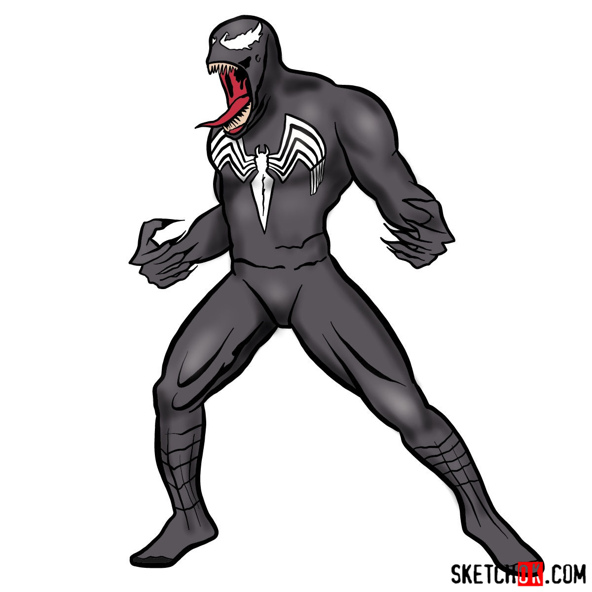 How to draw Venom symbiote step by step - coloring