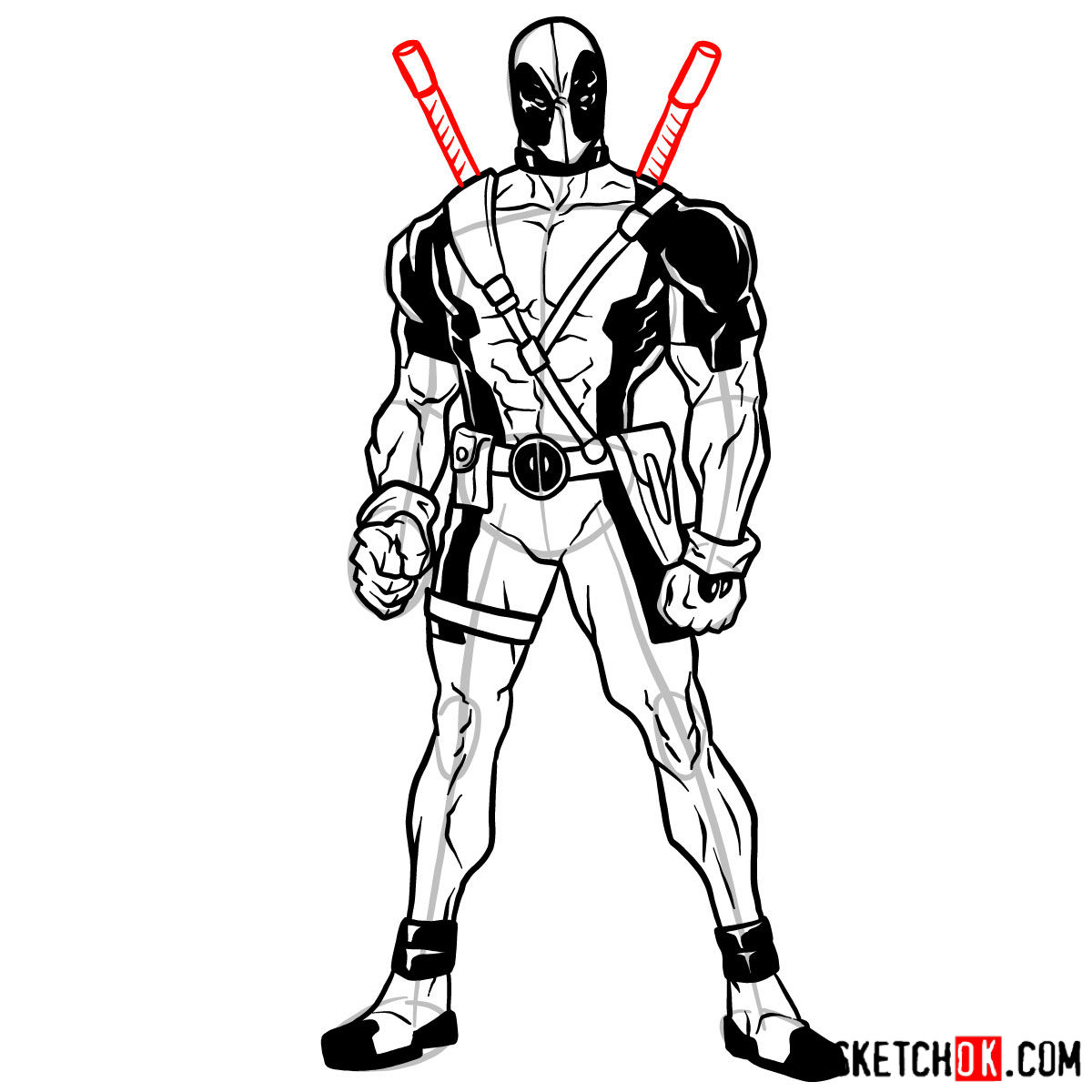 How To Draw Deadpool In Full Growth Sketchok
