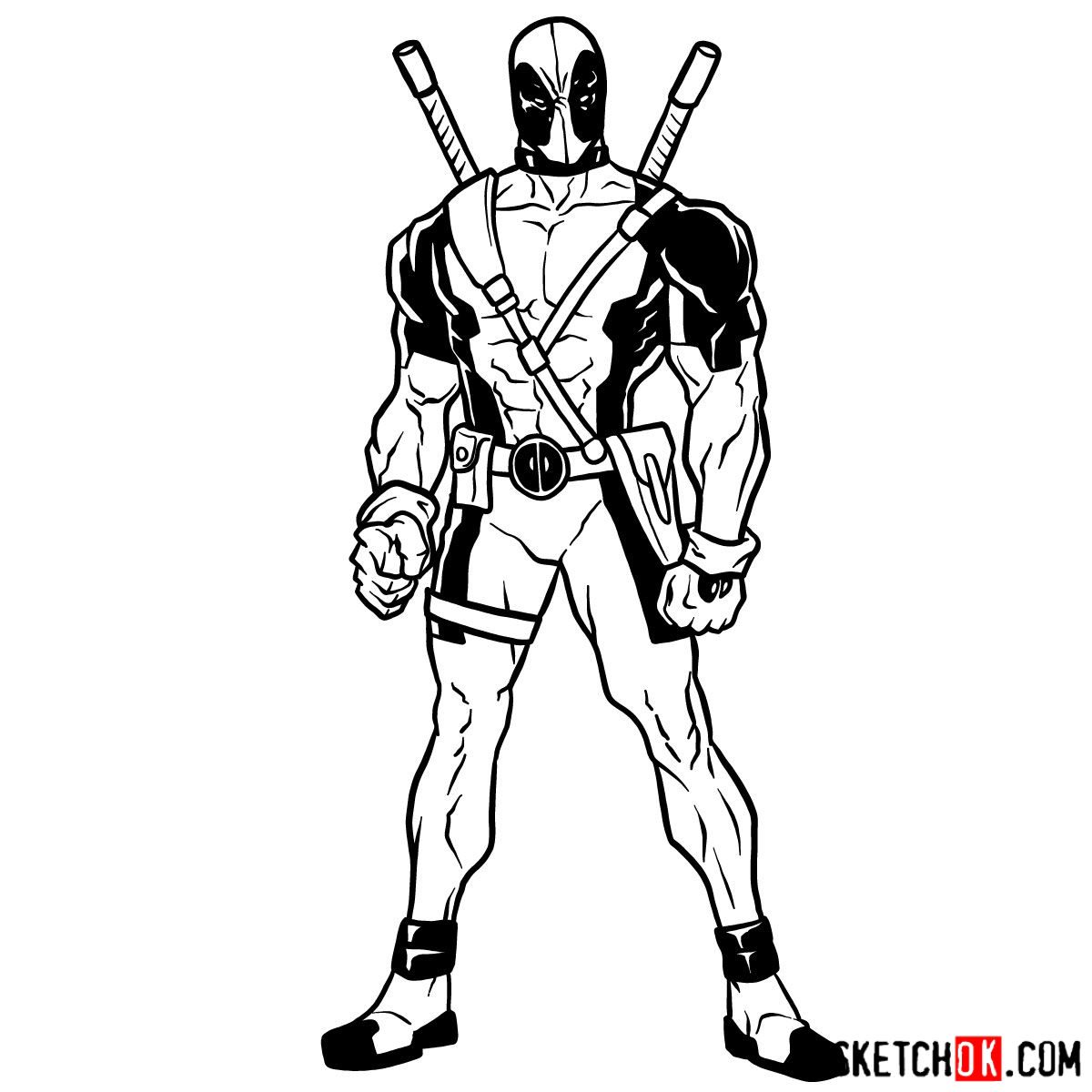How to draw Deadpool in full growth - step 14