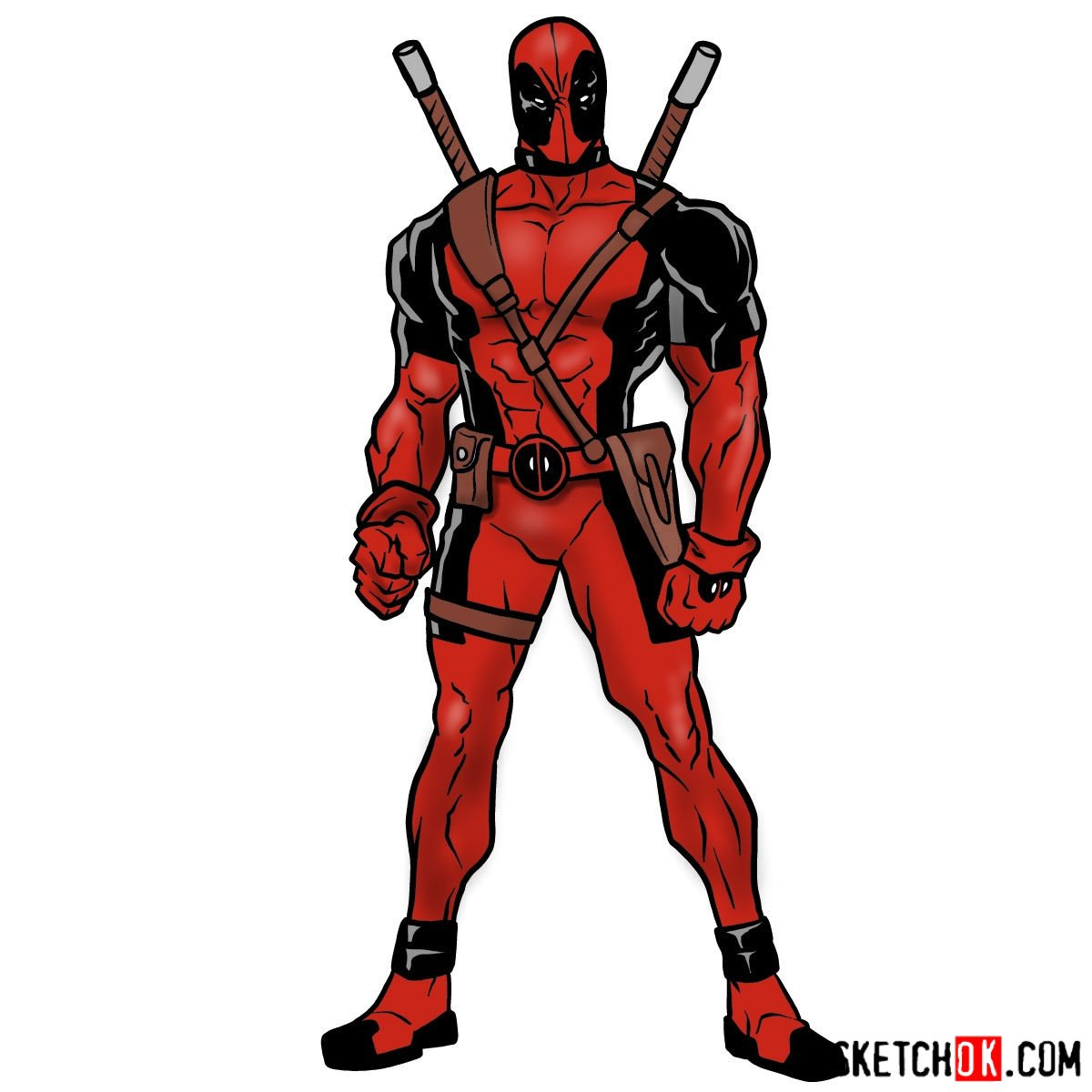 How to draw Deadpool in full growth