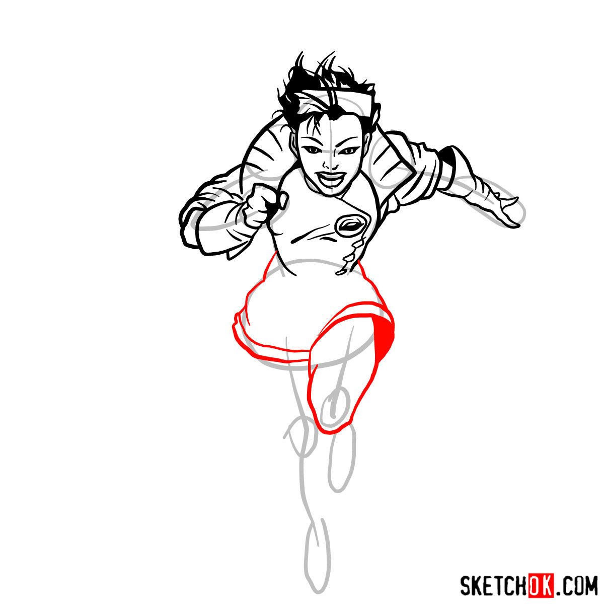 How to draw Jubilee mutant from X-Men series - step 10