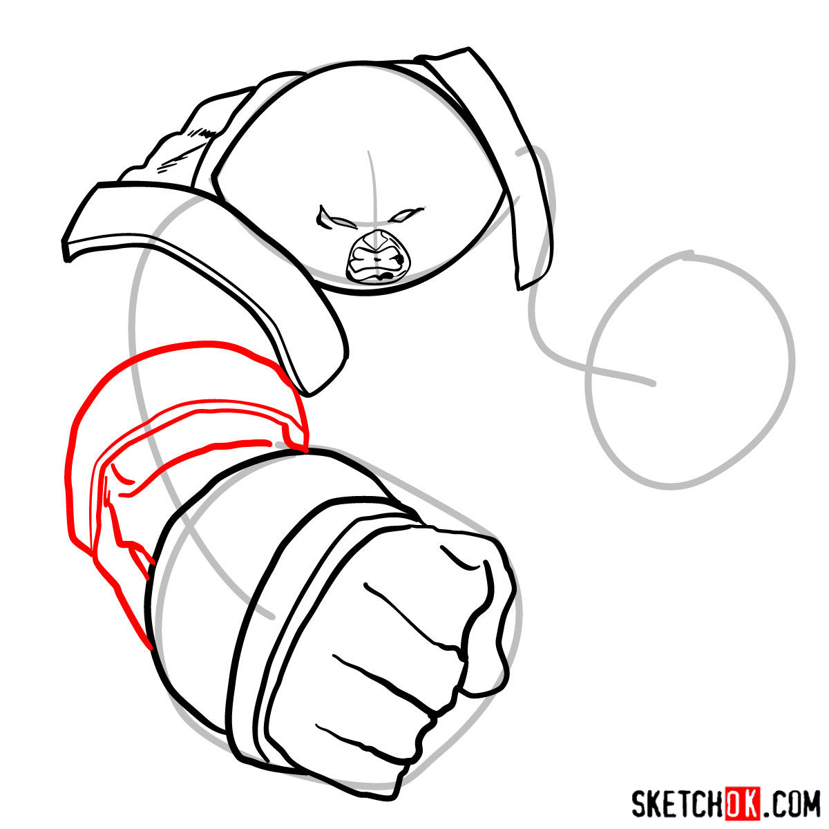 How to draw Juggernaut, the villian from X-Men series - step 07