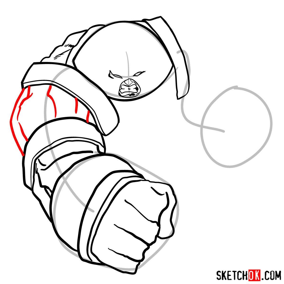 How to draw Juggernaut, the villian from X-Men series - step 08