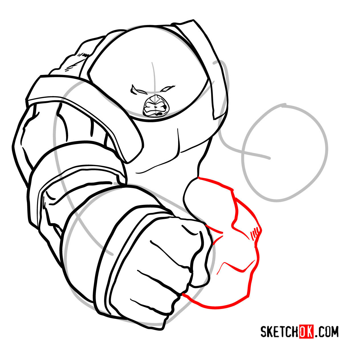 How to draw Juggernaut, the villian from X-Men series - step 10