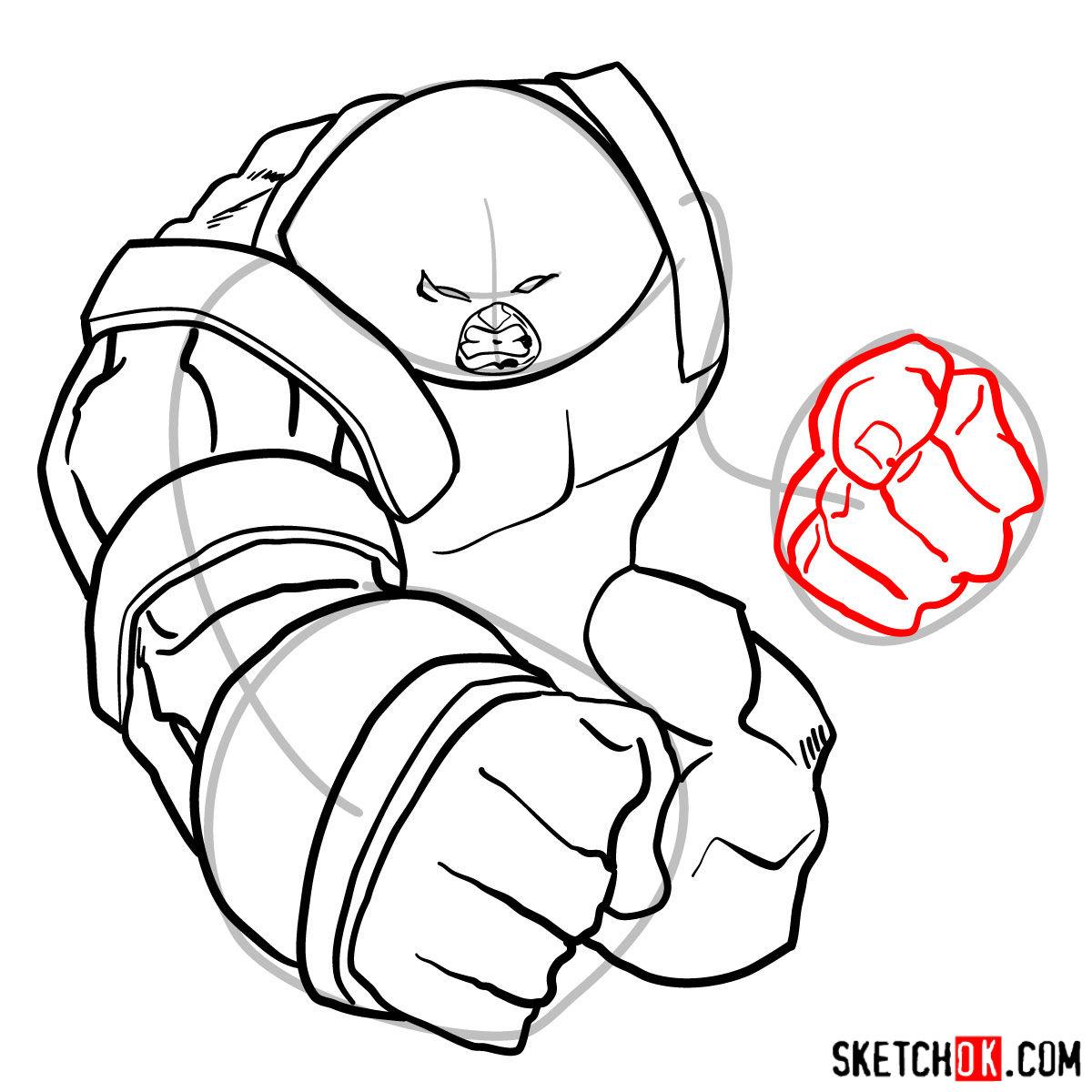 How to draw Juggernaut, the villian from X-Men series - step 11
