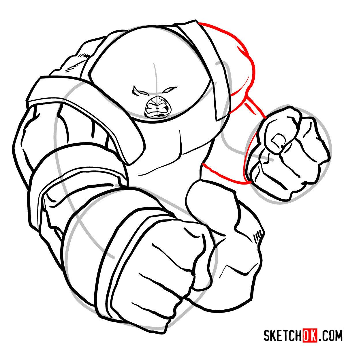 How to draw Juggernaut, the villian from X-Men series - step 12