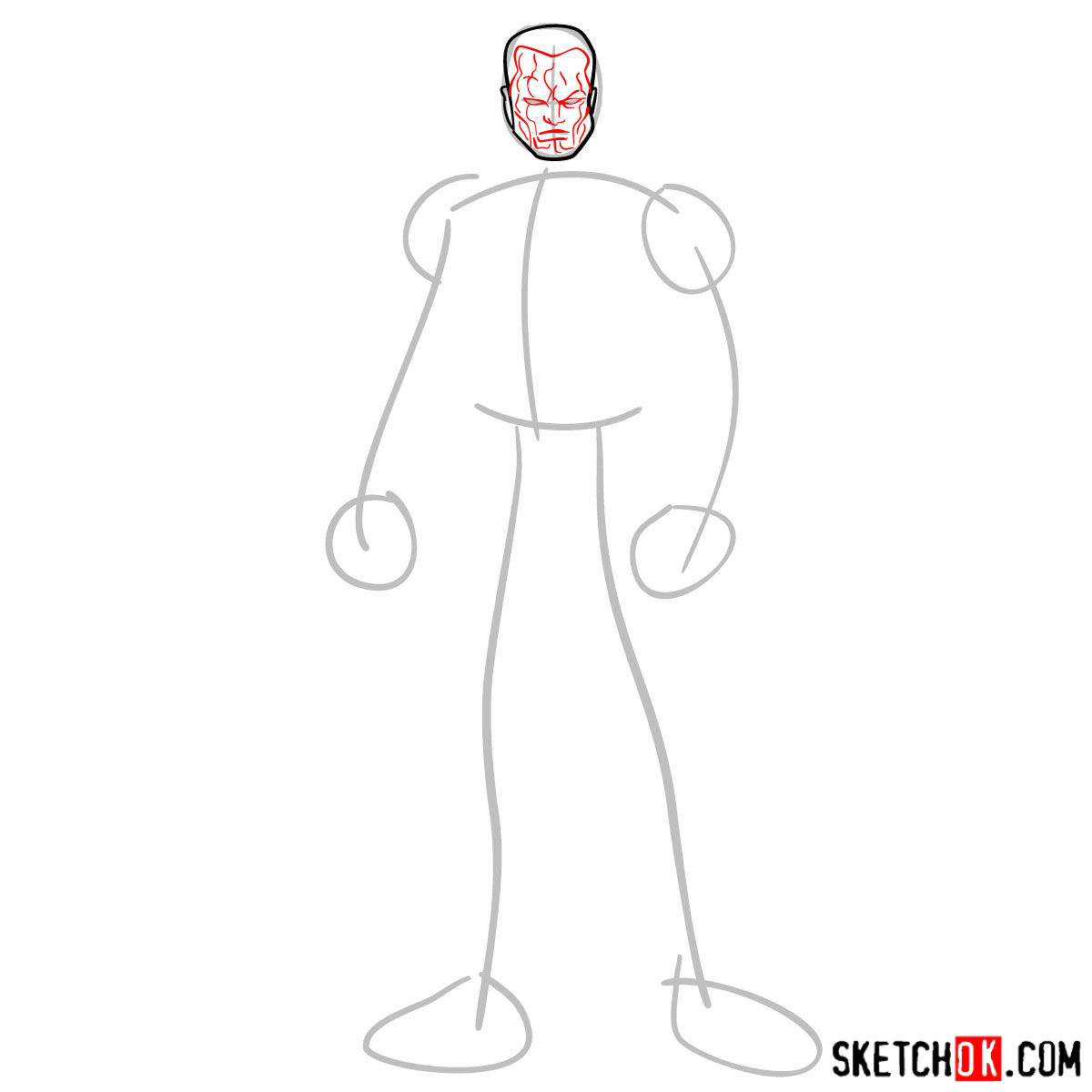 How to draw Colossus from Deadpool film and X-Men series - step 03