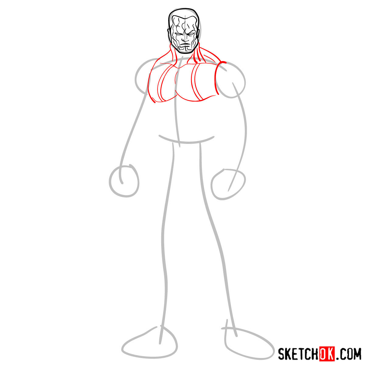 How to draw Colossus from Deadpool film and X-Men series - step 04