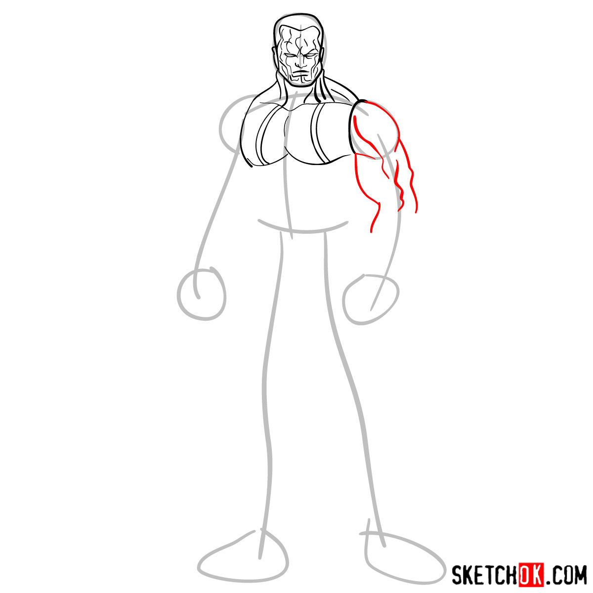 How to draw Colossus from Deadpool film and X-Men series - step 05