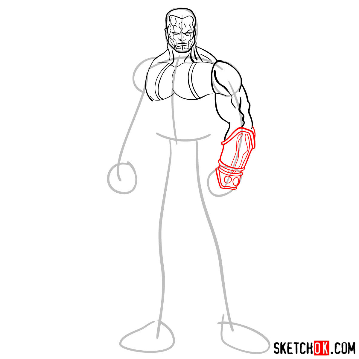 How to draw Colossus from Deadpool film and X-Men series - 