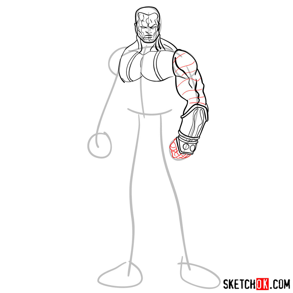 How to draw Colossus from Deadpool film and X-Men series - step 07