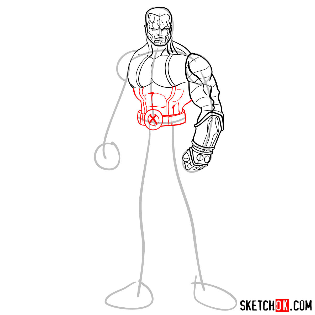 How to draw Colossus from Deadpool film and X-Men series - step 08