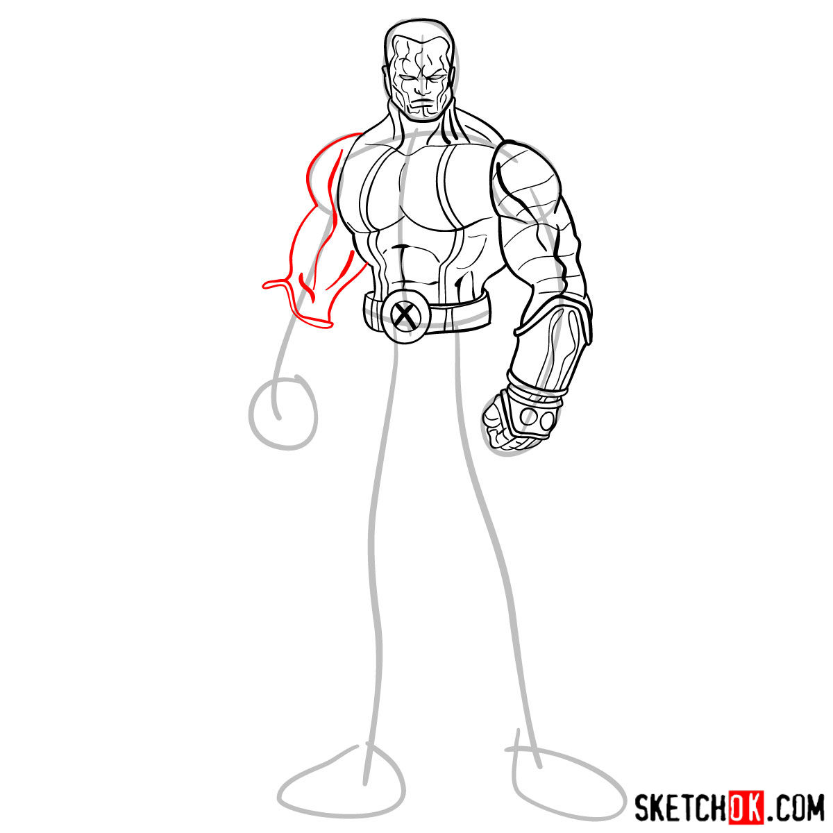 How to draw Colossus from Deadpool film and X-Men series - step 09