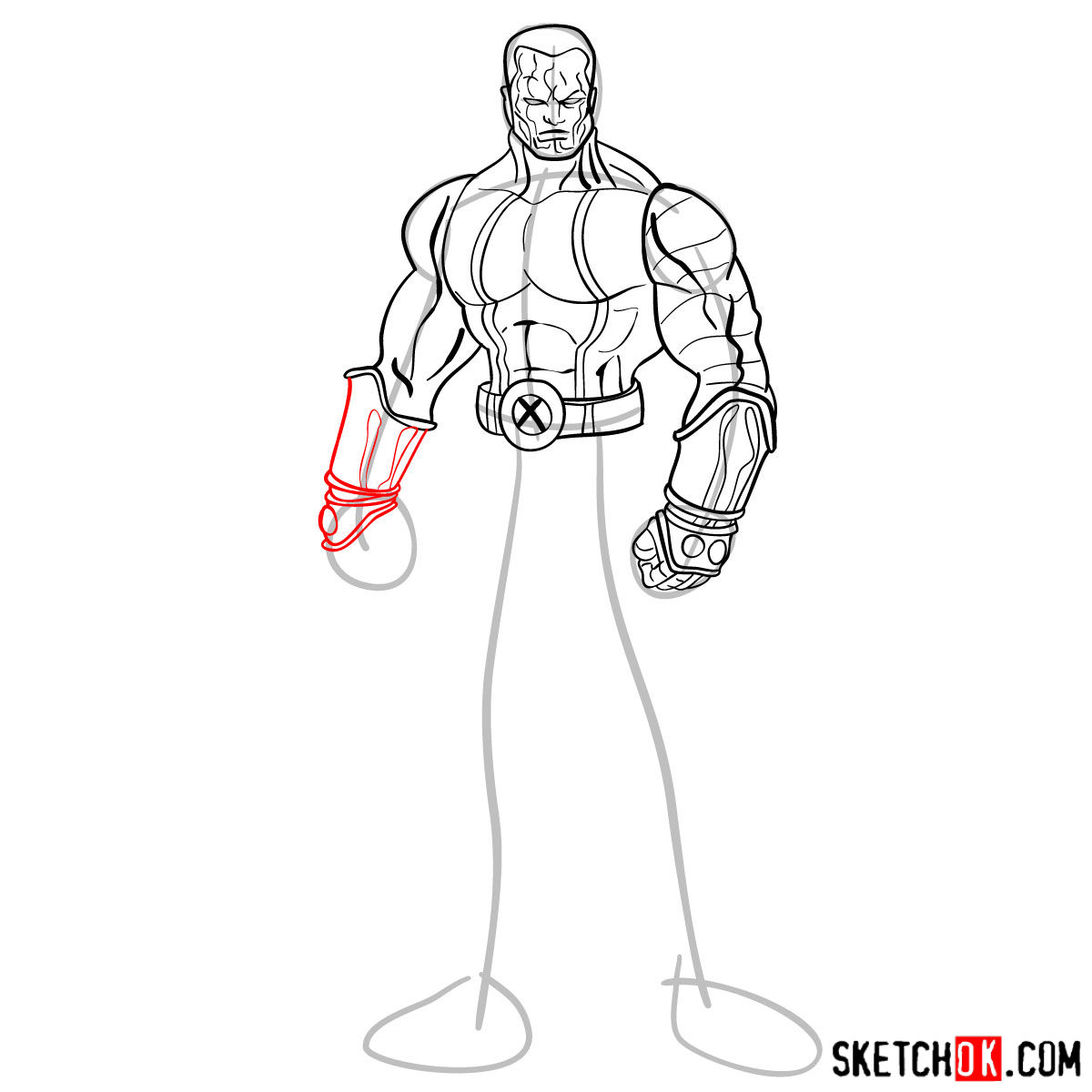 How to draw Colossus from Deadpool film and X-Men series - step 10